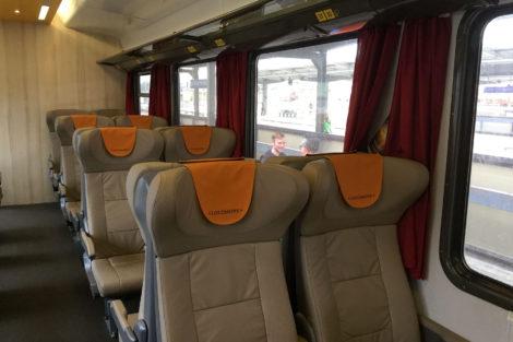 Interiér vagonu LEO Express Locomore, foto: Zdopravy.cz