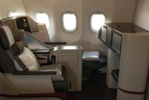 Qatar Airways, A320, interiér třídy Business, foto: Zdopravy.cz/Josef Petrák