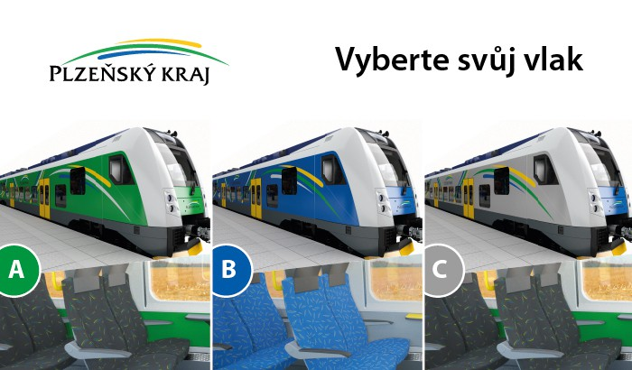 Plzeňský kraj už nechává cestující vybrat, v jaké barvě by měly vlaky jezdit. Foto: Plzeňský kraj