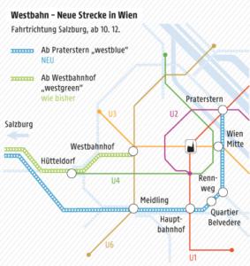 Schéma Westbahnu ve Vídni. Modrá linka je nová, zelená stávající.