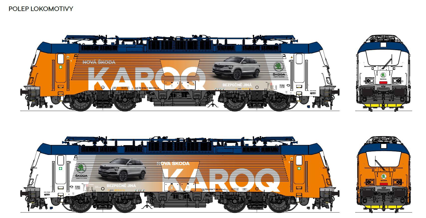 Vizualizace reklamního polepu lokomotivy 380 s reklamou na Škoda Karoq. Foto: Škoda Auto