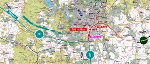 Zaústění tratí do uzlu Brno, varianta A - Řeka. Autor: SŽDC