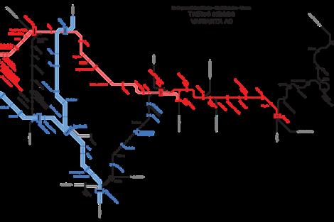 Plán na zrychlení vlaků Praha - Liberec. Základní varianta, která mění jen trať 070 a nepřinese zásadní zrychlení.