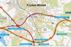 Plánovaná trasa obchvatu Frýdku - Místku. Foto: ŘSD