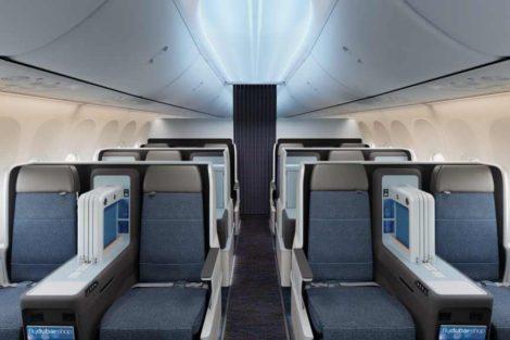 Byznys třída v nových letadlech Boeing 737 MAX 8 flydubai. Foto: flydubai