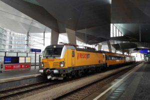 Souprava RegioJetu poprvé na vídeňském hlavním nádraží. Foto: RegioJet