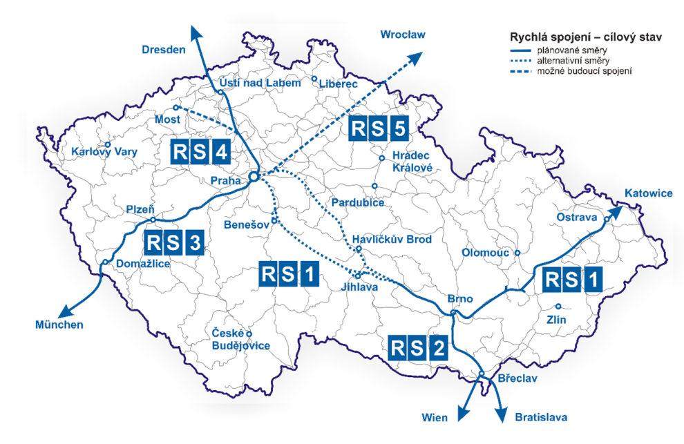 Mapa zvažovaných vysokorychlostních tratí v Česku. Foto: Ministerstvo dopravy