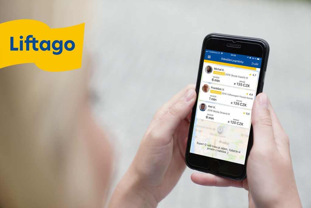 Aplikace Liftago propojuje licencované taxikáře s cestujícími. Foto: Liftago