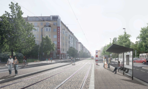 Vizualizace rekonstrukce tramvajové trati na Vinohradské ulici. Foto: DPP