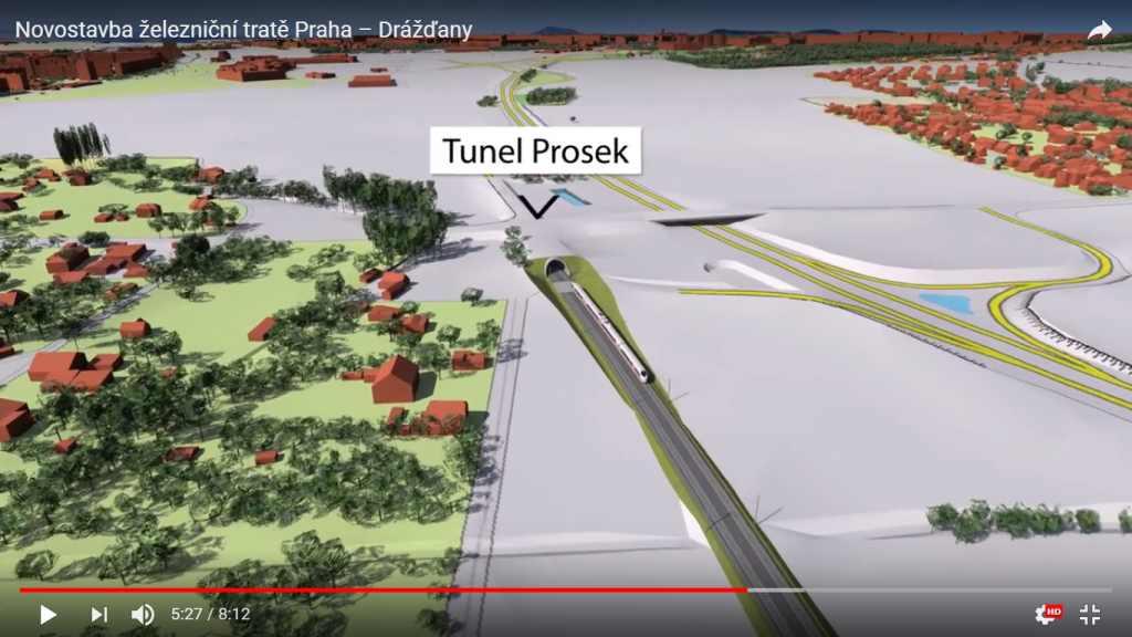Vizualizace trasy vysokorychlostní železnice mezi Prahou a Drážďany. Foto: YouTube