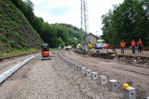 Stavební práce v Jindřichově na Moravě na trati 292. Foto: SŽDC