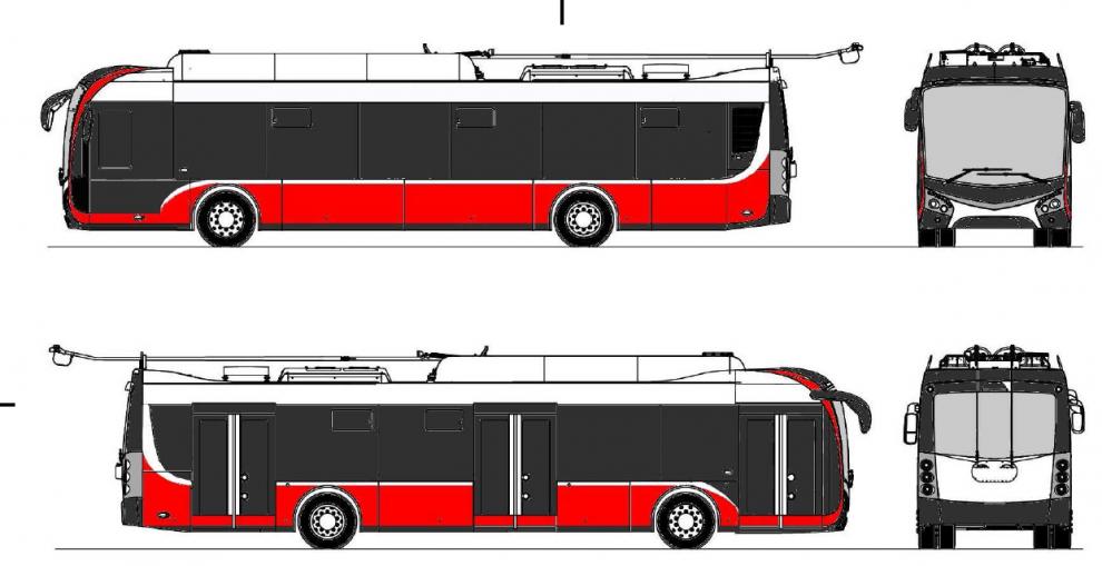 Vizualizace nového trolejbusu Škoda Tr 32 pro Opavu. Foto: Škoda Electric