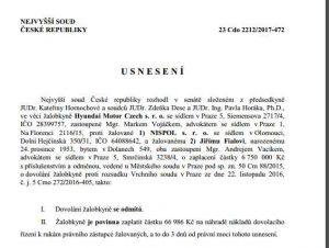 Usnesení Nejvyššího soudu, v kterém odmítl dovolání Hyundai Motor Czech
