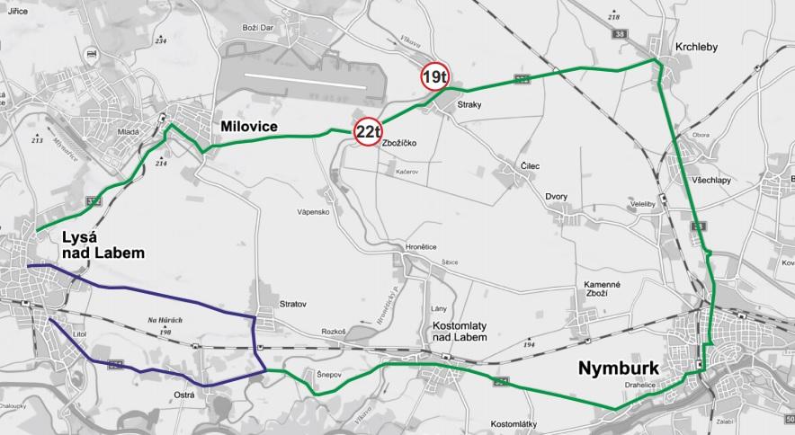 Návrh objízdných tras při uzavření nadjezdu v Lysé nad Labem. Foto: Středočeský kraj