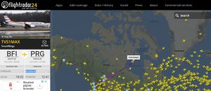 Let prvního 737 MAX 8 pro Travel Service ze Seattlu do Prahy. Foto: Flightradar24.com