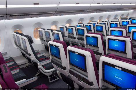 Ekonomická třída v A350-1000 Qatar Airways. Foto: Airbus