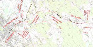 Tunely Nemanice - Ševětín, mapa. Pramen: SŽDC, dokumentace EIA