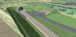 Tunely Nemanice - Ševětín, vizualizace. Pramen: SŽDC, dokumentace EIA