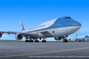 Nový B747-8 pro Air Force One, vzhled je zatím jen návrh. Autor: Boeing