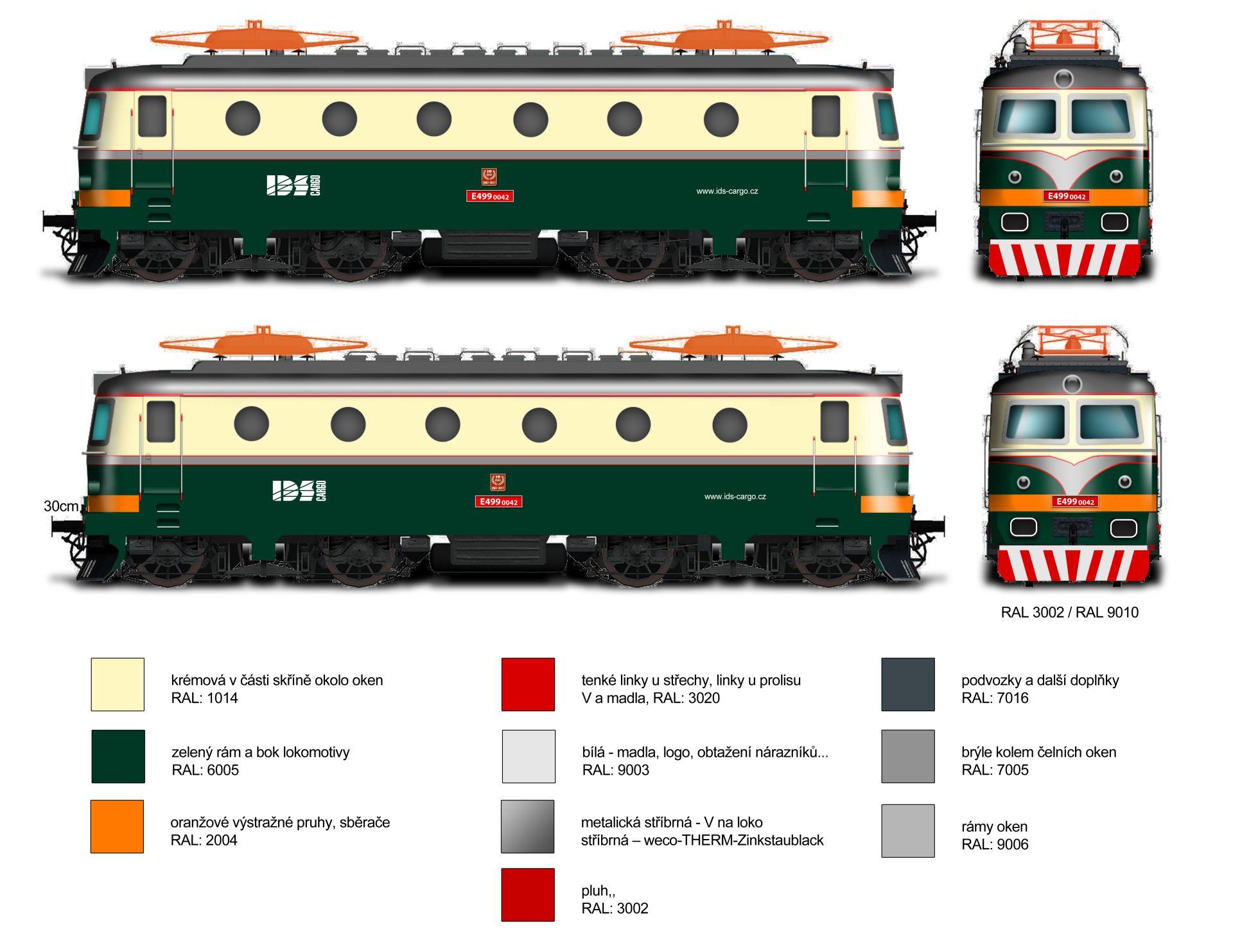 Barevné schéma pro revitalizaci lokomotivy 140.042. Foto: IDS Cargo