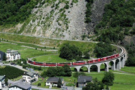 Viadukt v Brusiu. Foto: Rhätische Bahn
