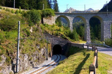 Trasování železnice na Albulabahn. Foto: Jan Sůra