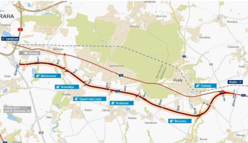 I/12 Běchovice - Úvaly. Pramen: ŘSD - dokumentace EIA