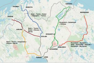 Možné trasy z Finska k Severnímu ledovému oceánu. Foto: https://julkaisut.liikennevirasto.fi/pdf8/lr_2018_arctic_ocean_railway_report_web.pdf