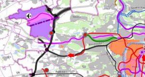 Zeleně označená trasa vyznačuje změnu v trase pro trať Praha - Kladno. Foto: Praha.eu