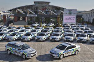 Předávání policejních vozů Škoda Octavia v roce 2015. Foto: Škoda Auto