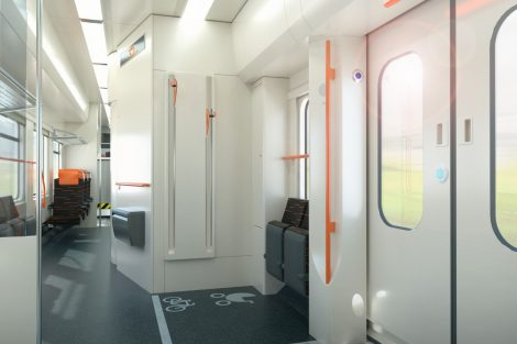 Vizualizace interiéru RegioPanteru pro ZSSK. Foto: Škoda Transportation