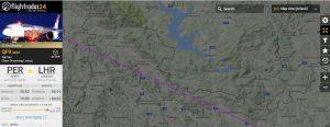 Trasa letu QF9 v blízkosti českého vzdušného prostotu. Foto: Flightradar24,com
