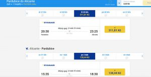 Ceny letenek z Pardubic do Alicante. Foto: Ryanair