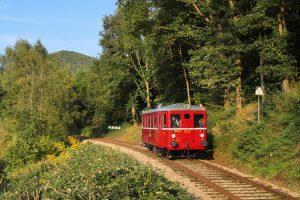 Motorový vůz M131.0 na trati mezi Velkým Březnem a Zubrnicemi. Foto: Zubrnická museální železnice