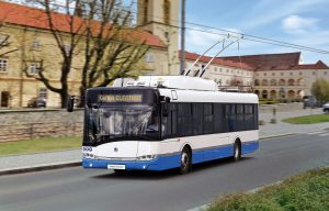 Trolejbus Škoda 26 Tr na Palackého třídě v Chomutově. Autor: Škoda Electric