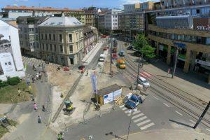 Oprava tramvajové trati v centru Liberce v roce 2017. Foto: Eurovia