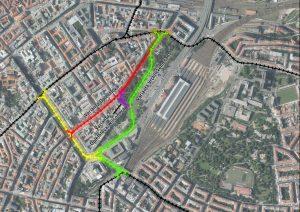 Tramvajová trať, návrhy propojení Vinohrad s Hlavním nádražím. Pramen: IPR Praha