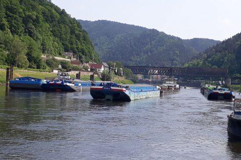 Lodě v Děčíně čekají na vodu. Autor: EVD-Sped.