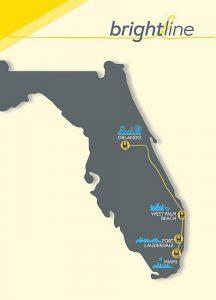 Mapa trasy vlaků společnosti Brightline včetně plánů na spojení do Orlanda. Foto: Brightline