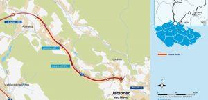 Mapa nové silnice I/14 mezi Libercem a Jabloncem nad Nisou. Foto: ŘSD
