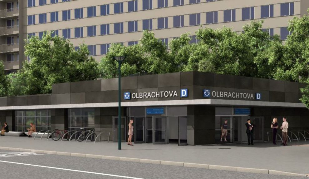 Vizualizace stanice metra D Olbrachtova. Pramen: DPP
