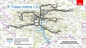 Metro D, vedení linky. Pramen: DPP