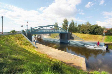 Zdvihací most Vraňany. Vizualizace. Pramen: ŘVC