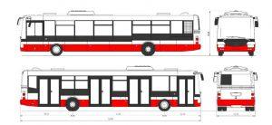 Barevné schéma nových autobusů SOR NB 12 pro DPP. Foto: DPP