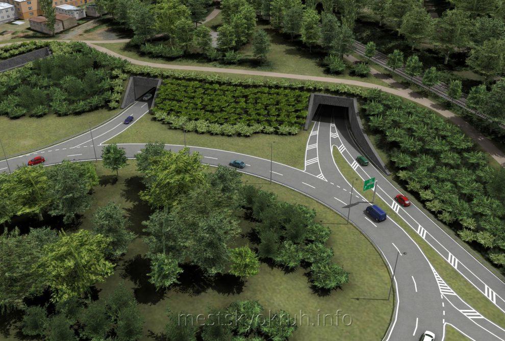 Vizualizace vyústění tunelu u křižovatky s Českobrodskou. Foto: http://mestskyokruh.info