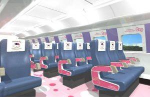 Šinkansen s motivy Hello Kitty. Pramen: West Japan Railway