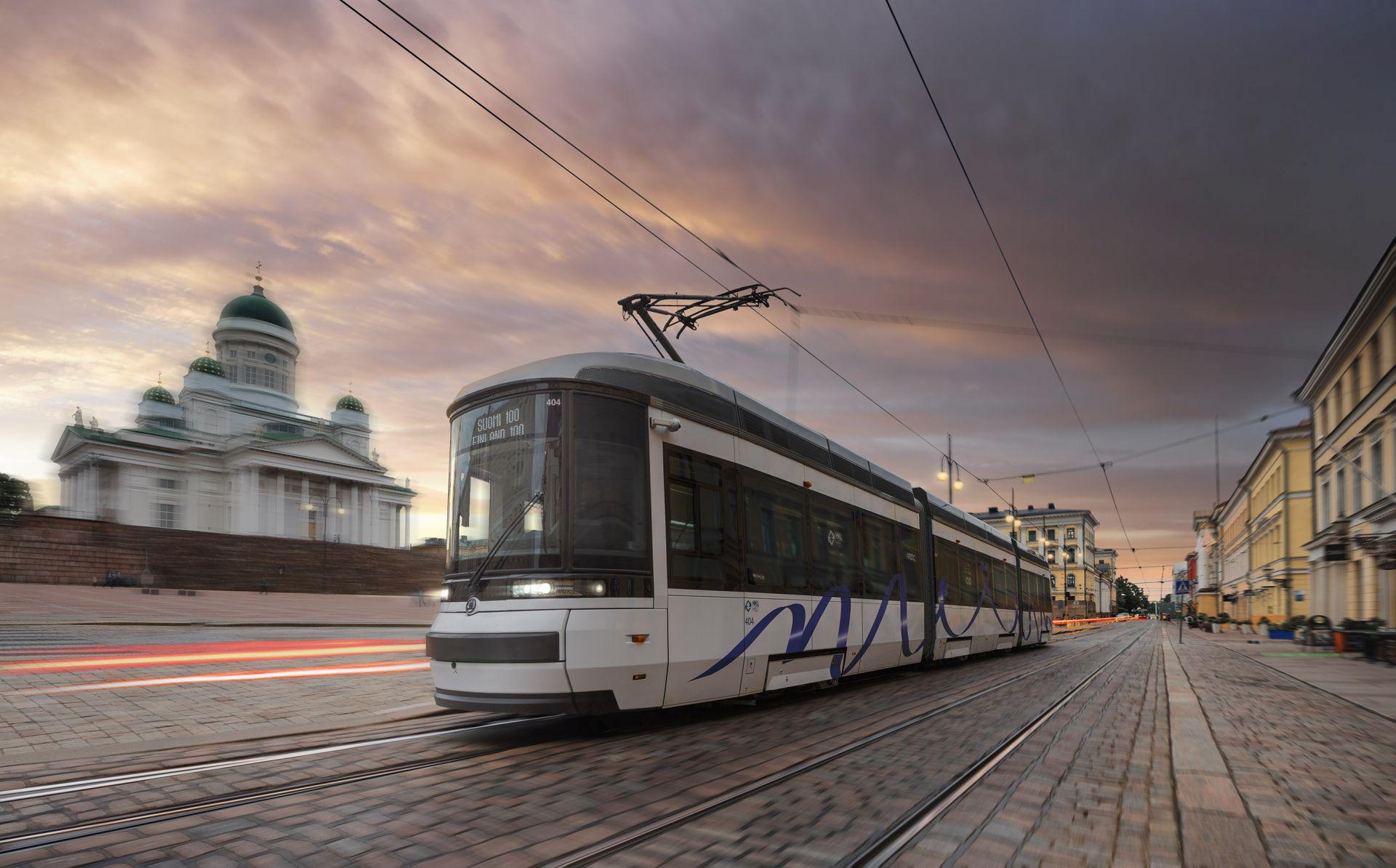 Tramvaj ForCity Smart Artic v centru Helsinek. Autor: Škoda Transportation