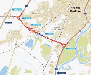 Budoucí jižní spojky v Hradci Králové. Pramen: ŘSD, EIA