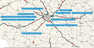 Mapa uzavírek kolem Prahy. Pramen: ŘSD