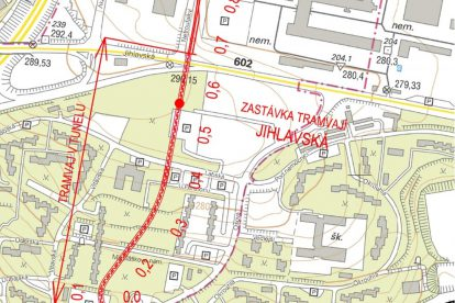 Trasa nové tramvajové trati do kampusu Bohunice. Foto: Brno